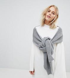 Свободный джемпер-шарф с манжетами в рубчик Willow and Paige - Серый