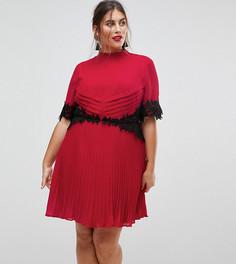 Платье мини с кружевной отделкой и плиссировкой ASOS CURVE - Розовый