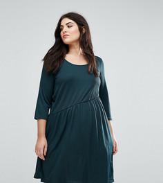 Короткое приталенное трикотажное платье Junarose - Зеленый