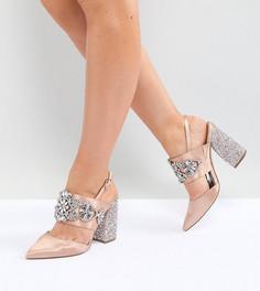 Туфли на каблуке для широкой стопы с отделкой ASOS PERFECT COMBO - Бежевый