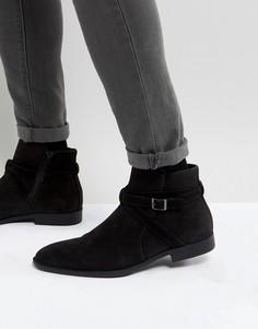 Черные ботинки челси из искусственной замши с ремешками ASOS - Черный