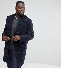 Темно-синее клетчатое пальто из ткани с добавлением шерсти ASOS PLUS - Темно-синий
