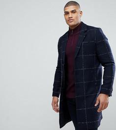 Темно-синее пальто из ткани с добавлением шерсти в клетку ASOS TALL - Темно-синий