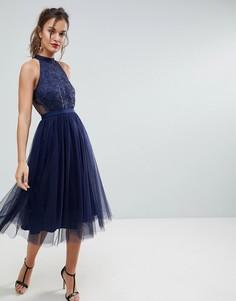 Плиссированное платье миди из тюля и кружева ASOS - Мульти