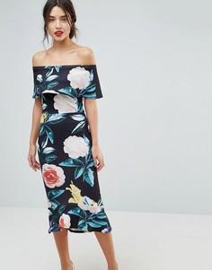 Платье миди с оборкой на подоле и цветочным принтом True Violet - Черный