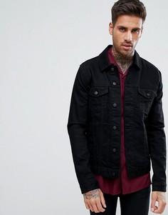 Черная приталенная джинсовая куртка ASOS - Черный