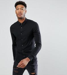 Черная приталенная рубашка из вискозы ASOS TALL - Черный