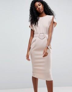 Платье миди с поясом ASOS - Розовый