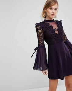 Премиум-платье мини с кружевной отделкой и завязками на рукавах True Decadence - Фиолетовый