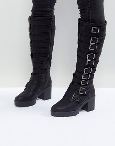 Высокие сапоги на каблуке с пряжками ASOS CAUTION - Черный