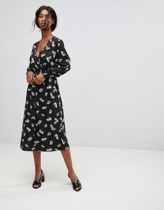 Платье миди в горошек с цветочным принтом и запахом Influence - Мульти