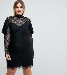 Кружевное платье мини с оборками на рукавах ASOS CURVE - Черный