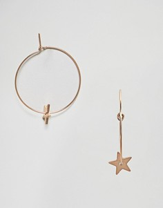 Серьги-кольца со звездами Nylon - Золотой