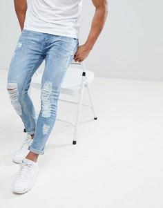 Светлые джинсы скинни с потертостями Brave Soul - Синий
