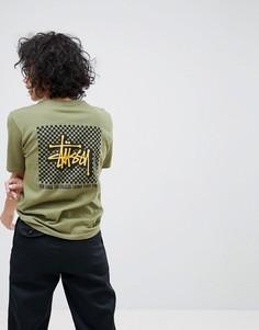 Футболка оверсайз с логотипом и шахматным принтом на спине Stussy - Зеленый