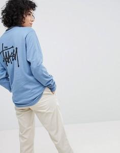 Лонгслив с логотипом на спине Stussy - Синий