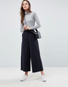 Темно-синие широкие парусиновые брюки ASOS - Синий
