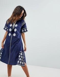 Пляжное платье макси с вышивкой Liquorish - Темно-синий