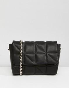 Кожаная стеганая сумка через плечо с ремешком-цепочкой ASOS - Черный
