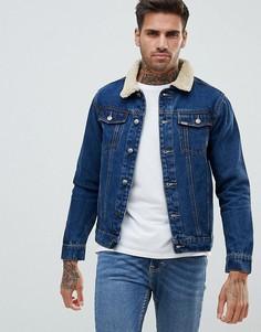 Джинсовая куртка с воротником из искусственного меха Ascend - Синий