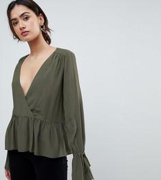 Oversize-блузка с запахом и удлиненным краем ASOS TALL - Зеленый