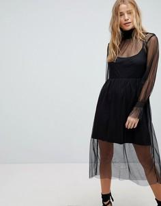 Платье миди с пышными рукавами Influence - Черный