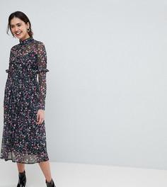 Сетчатое платье миди с цветочным принтом и высоким воротом ASOS TALL - Мульти
