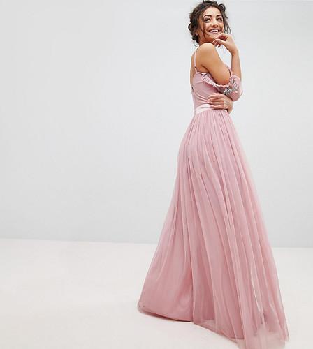 Платье макси из тюля с открытыми плечами и пайетками Maya Tall - Розовый