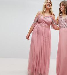 Платье макси из тюля с вырезами на плечах и отделкой пайетками Maya Plus - Розовый