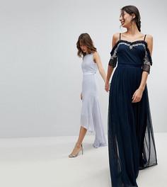 Платье макси из тюля с открытыми плечами и пайетками Maya Tall - Темно-синий