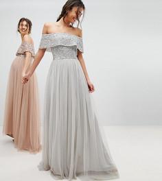 Асимметричное платье из тюля с пайетками на лифе Maya Tall - Серый