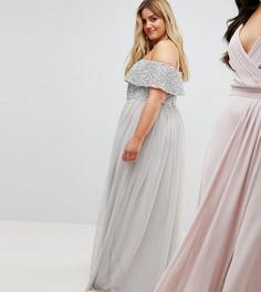 Асимметричное платье из тюля с пайетками на лифе Maya Plus - Серый