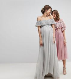 Платье из тюля с открытыми плечами и отделкой пайетками Maya Maternity - Серый