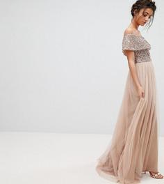 Асимметричное платье из тюля с пайетками на лифе Maya Tall - Коричневый