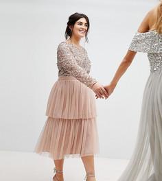 Платье миди с длинными рукавами, пайетками на лифе и ярусной юбкой Maya Plus - Коричневый