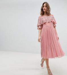 Платье миди с прозрачной отделкой и кейпом Maya - Розовый