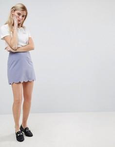 Мини юбка‑трапеция с фигурным краем ASOS Tailored - Синий