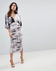 Платье-кимоно с абстрактным принтом ASOS - Мульти
