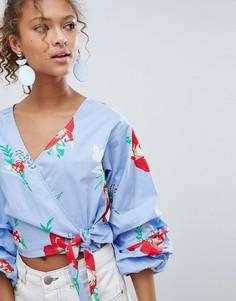 Блузка с запахом и цветочным принтом Miss Selfridge - Синий