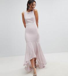 Платье макси с бантом сзади и асимметричным краем TFNC Tall WEDDING - Коричневый