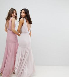 Асимметричное платье макси с бантом на спине TFNC Petite WEDDING - Коричневый
