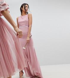 Платье макси с бантом сзади и асимметричным краем TFNC Tall WEDDING - Розовый