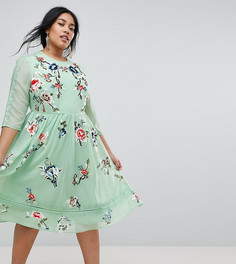 Приталенное платье миди с вышивкой ASOS CURVE PREMIUM - Мульти