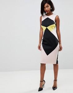 Платье-футляр миди в стиле колор блок ASOS - Мульти