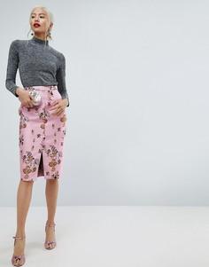 Жаккардовая юбка-карандаш с цветочным узором и разрезом ASOS - Мульти