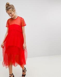 Платье-футболка миди из сетки добби с многослойными оборками ASOS - Красный