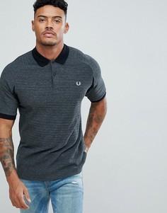 Серая футболка-поло узкого кроя из пике в стиле колор блок Fred Perry - Серый