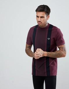 Бордовая облегающая футболка-поло из ткани пике в полоску Fred Perry - Красный