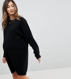 Вязаное платье оверсайз с круглым вырезом ASOS MATERNITY - Черный