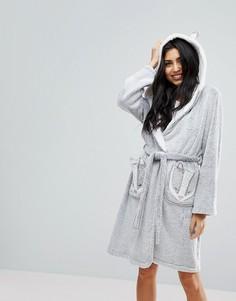 Флисовый халат с отделкой в виде барсука Hunkemoller - Серый